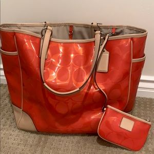 Coach Orange Tote with Wristlet